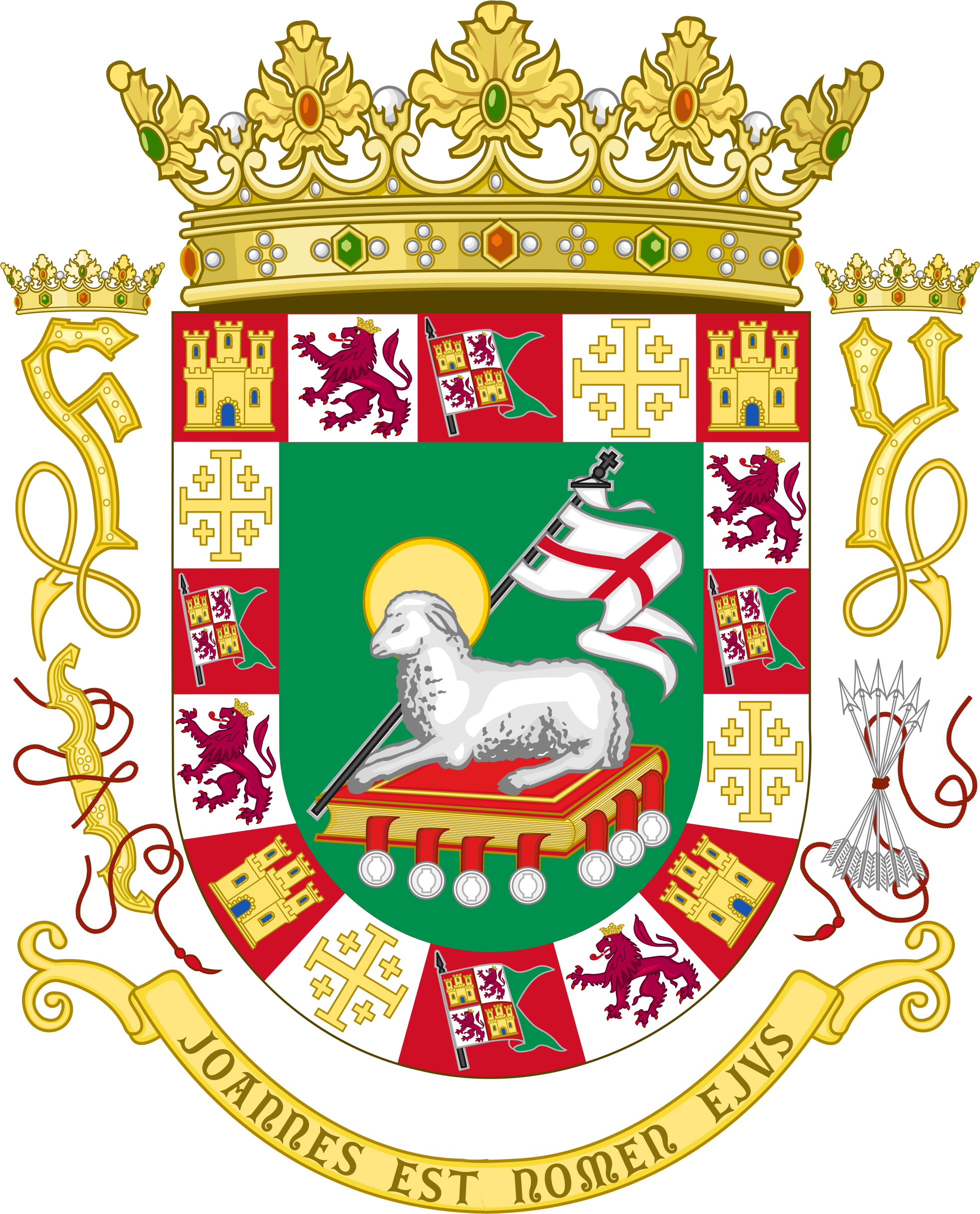 Coat of Arms granted to the island of Puerto Rico in the year 1511 by the Catholic Monarch of Castile and León.
